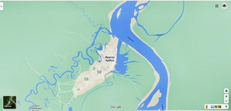 Именно так выглядит Икитос на карте.